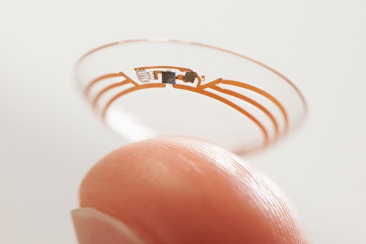 Glucose Monitoring Contact Lenses  |  Google is working on contact lenses that will test the wearer's tears for his or her glucose levels, helping to calculate blood sugar levels for diabetics.