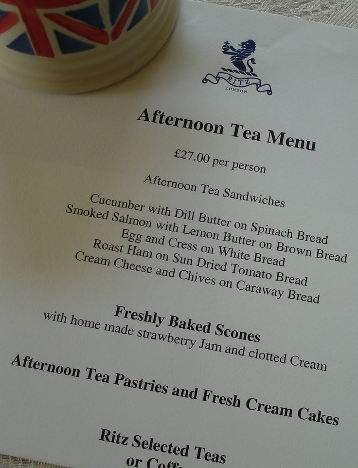 Afternoon High Tea Menu, served at the Ritz, London.