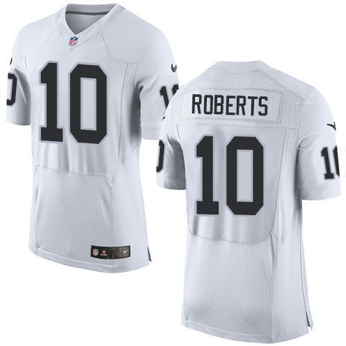 Men's NFL Oakland Raiders #10 Roberts White Elite Jersey