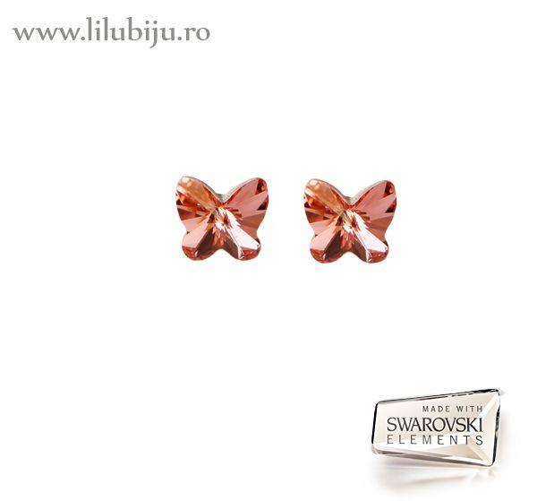 Cercei Swarovski Elements™ - Fluturi Roz piersica by LiluBiju (copyright)