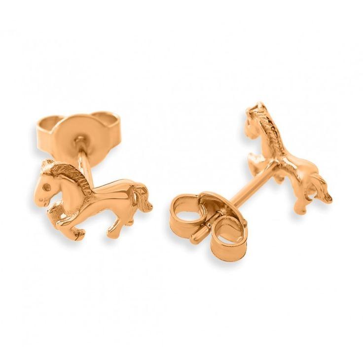 Wunderschöne Pferde Ohrstecker aus 925 Sterling Silber. Diese massiven Ohrstecker sind eine wundervolle Geschenkidee für jeden Pferdefan und werden in jedem Fall begeistern. Die Ohrstecker werden in Juwelierqualität hochwertig rosé vergoldet.