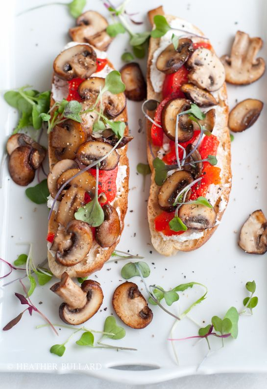 toasted ciabatta, ricotta cheese, sauteed cremini mushrooms, fire-roasted red peppers, micro greens and salt & pepper