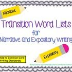 Encourage better Organization, Sentence Fluency and Word Choice in your students' writing with these transition word lists for narrative and exposi...
