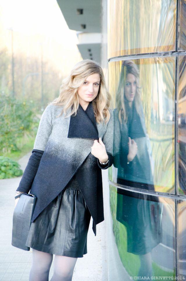 Eleonora Gavino Grigo e nero outfit degradè Cardigan rosa-spina e pochette metamorphosis by Eleny Neculai