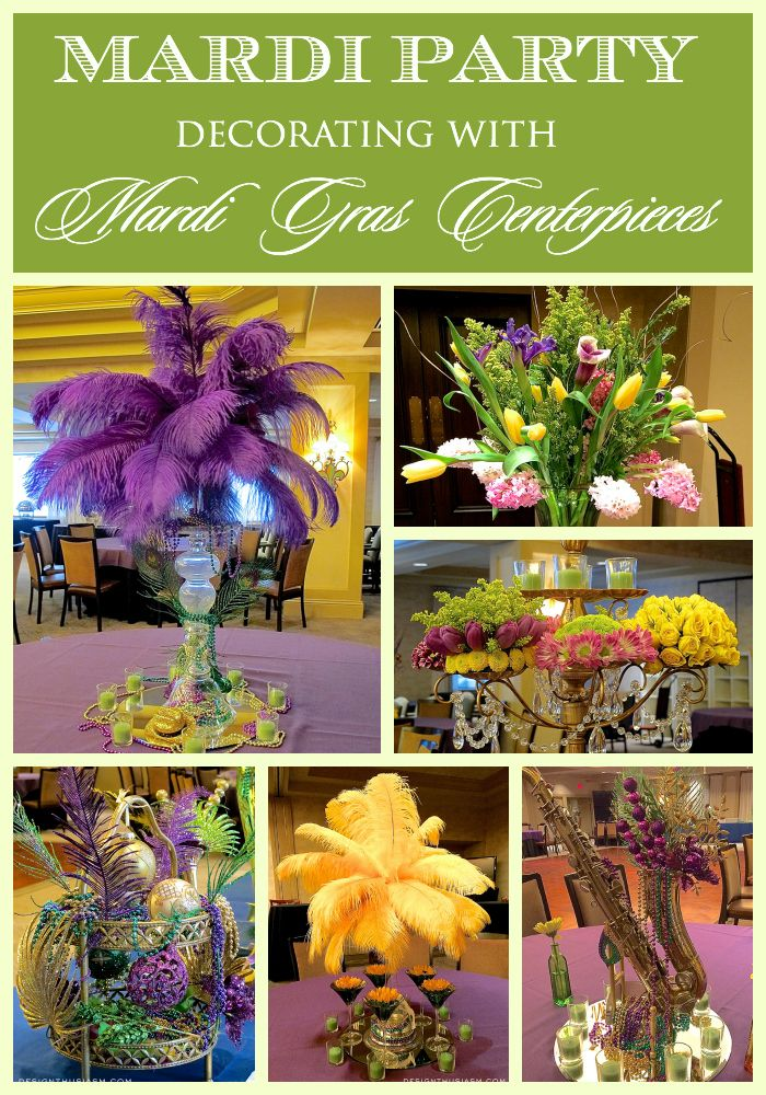 Looking for ideas to DECORATE FOR A MARDI GRAS PARTY?  Here's a ballroom's worth of centerpieces and decor ideas in the Mardi Grad theme | Designthusiasm.com #mardigras #centerpieces #purplegreenandgold