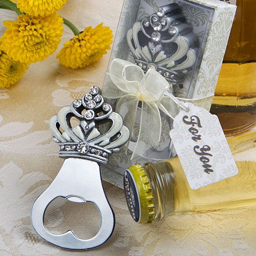 Make your guests feel like royalty with these crown design bottle opener favors. Great for a fairy tale or princess themed bridal shower or wedding.