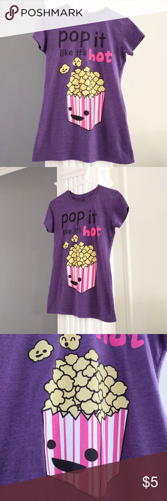 Adorable popcorn t-shirt Literally worn once, but I kept it just because it's so darn cute!  Excellent condition!  Juniors XL.  Bust about 34, length about 26.  Has some stretch to it.  Price is firm because it's so low.  Add to a bundle to save 10% today! Tops Tees - Short Sleeve