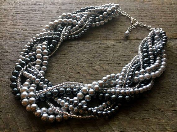 Silver Grey Pearl Statement Necklace Multi Strand Wedding Necklace Chunky Braided Necklace on Silver Chain by haileyallendesigns #handmade #Etsy #weddings #bridal #jewelry