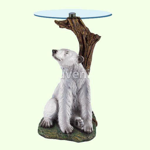 Маленький стеклянный столик Медведь (А). Необычные придиванные столы для гостиной