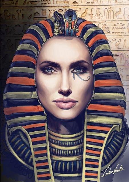 Digital painting - Egyptian Angelina  #WacomCintiq #digitalpainting #Angelina #pharaoh