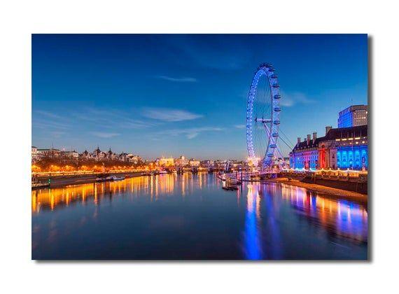 London Eye Ferris Wheel At Night Wall Art Print London Wallpaper Visit London Things To Do In London
