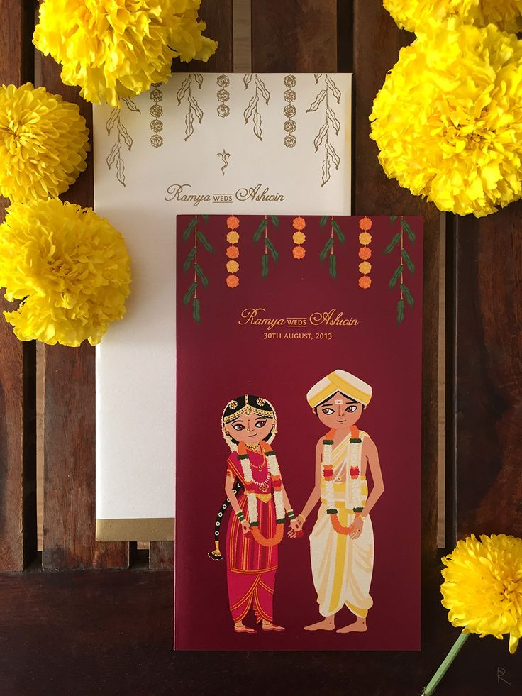 illustrated wedding invitations, cute indian wedding invitations, indian wedding invites, unique indian wedding invite, Radha Ramachandran illustrator
