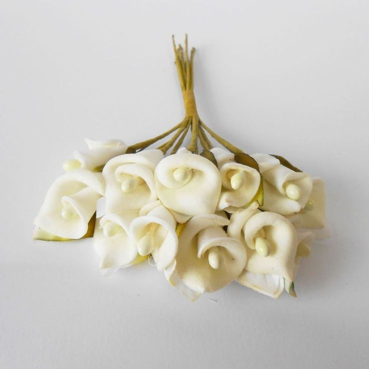 1,42+6,20 10cm 12Fiore calla bianca per decorazione bomboniera 100 mm set 12 pz art B0485