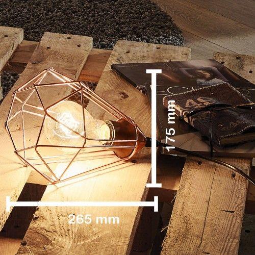 Design Bord Lampe ↥265mm/ / Retro/ Shabby/ Kobber/ Kobber/ Natt Lys Bur Gitter Loft Bordslampe Nattbordslampe