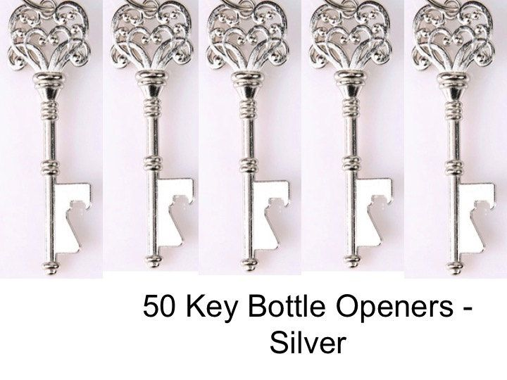 50 Skeleton Key Bottle Openers  (KEYS ONLY)- silver key bottle opener, Unique Wedding Favors, Wedding Favor, Wedding Decor - Silver by MaxplanationPhotos on Etsy