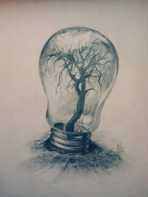 surrealism, tree, pencil, light bulb