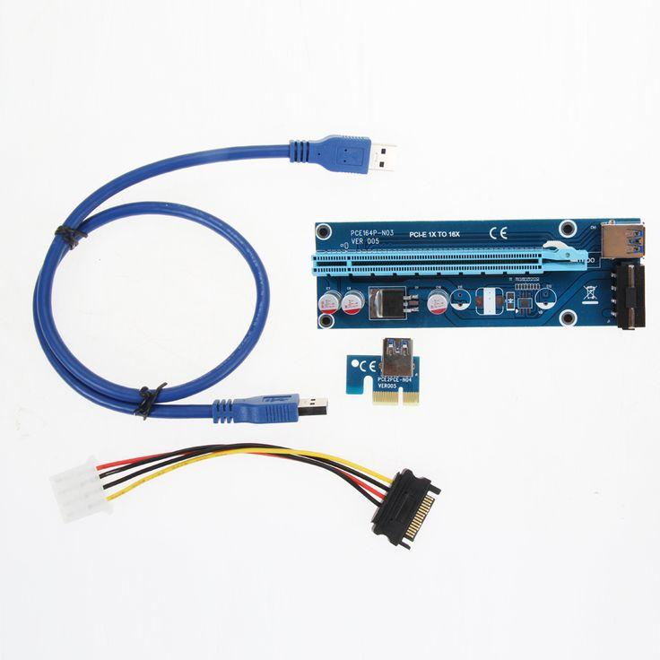 30/60 CM PCIe PCI-E PCI Express Riser Card 1x zu 16x USB 3.0 Datenkabel SATA auf 4Pin IDE Molex Stromversorgung für BTC Miner maschine