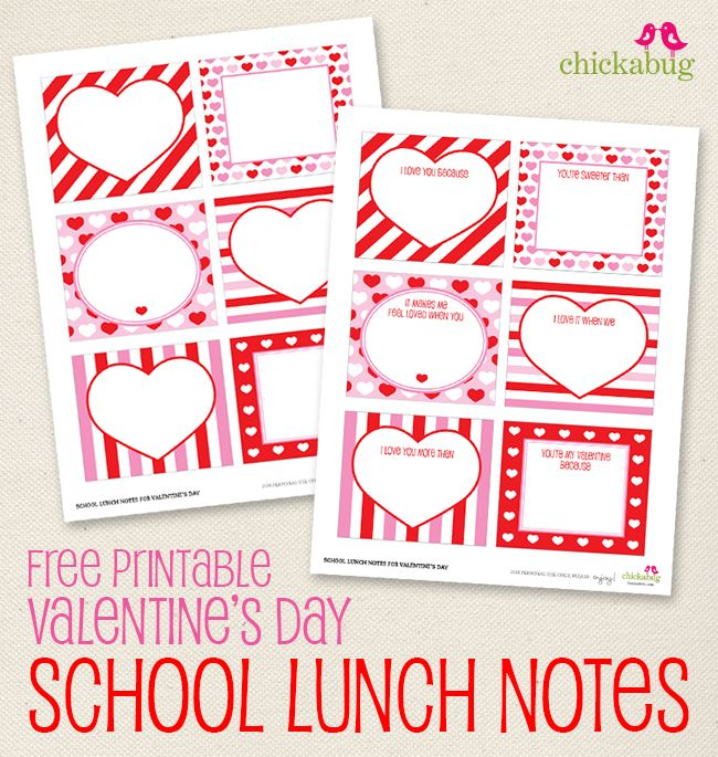 Free printable Valentine's Day school lunch notes (or love notes!) from Chickabug