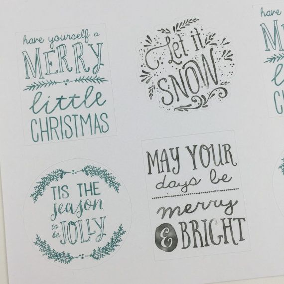 Holiday and Christmas Phrases Horizontal planner stickers