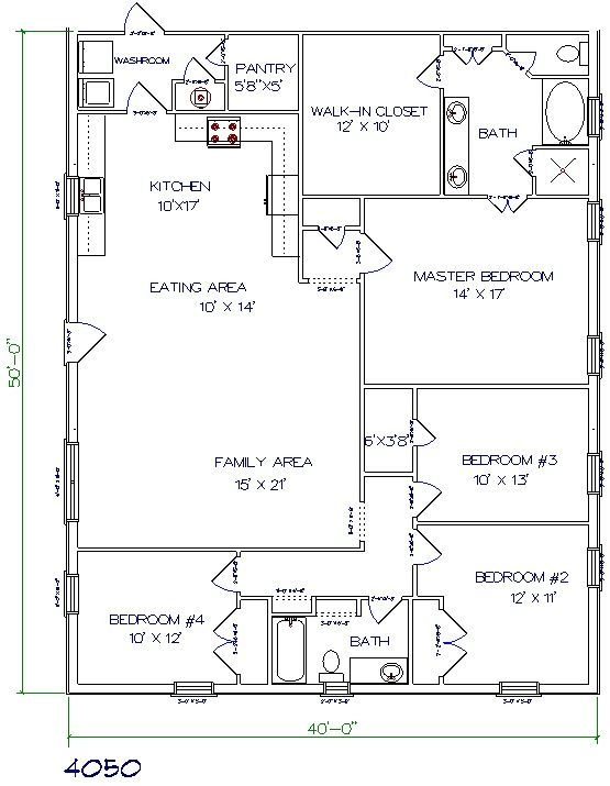 barndominium floor plan 4 bedroom 2 bathroom 40x50                                                                                                                                                                                 More