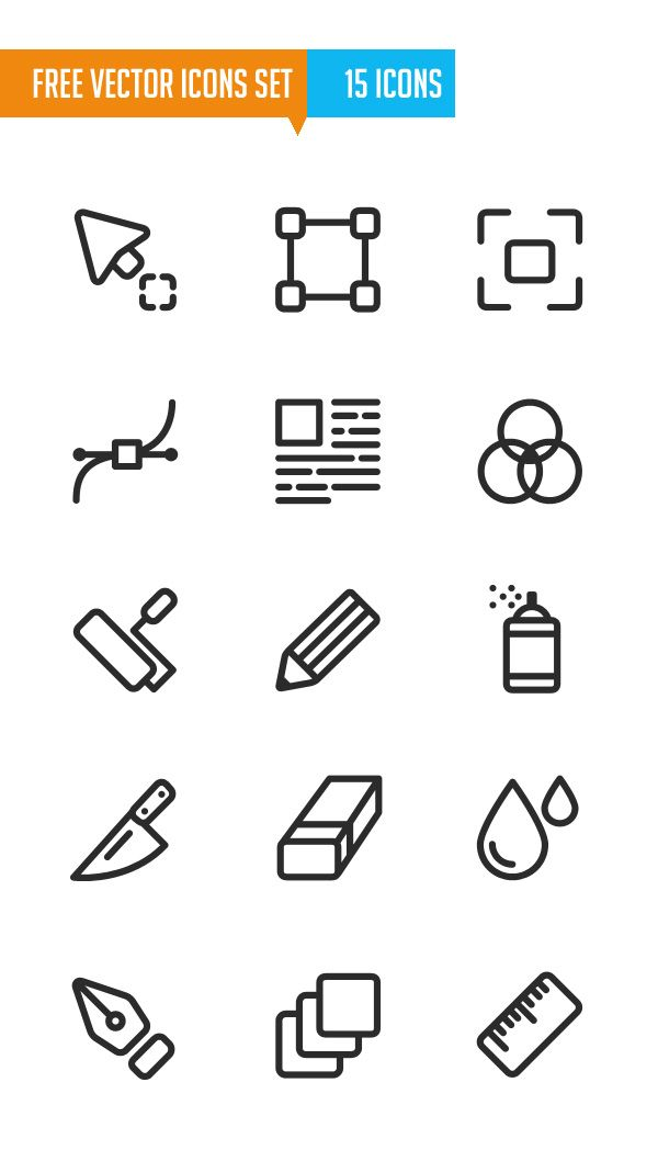 Free Vector Icons Set (15 Icons) #freeicons #vectoricons #strokeicons #lineicons #psdicons