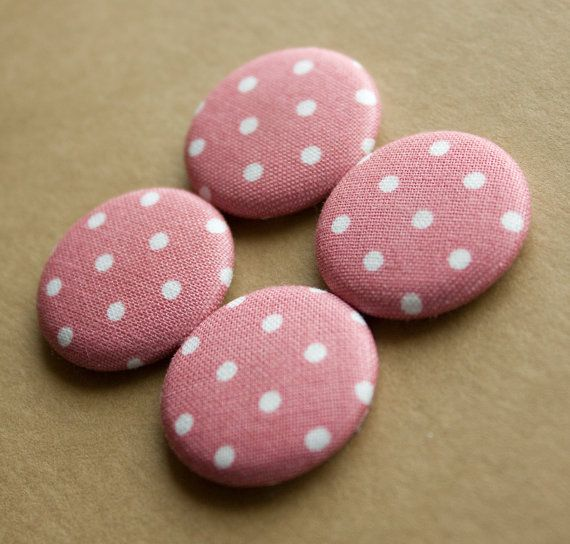 Pink Polka Dot Magnets  set of 4 by HowlOwl on Etsy.