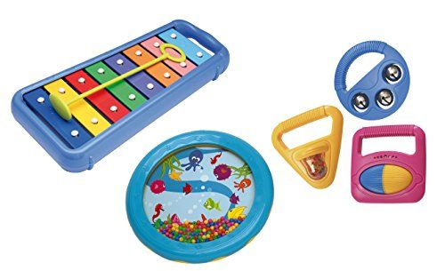 Hohner Kids Toddler Music Band Hohner Kids A complete band in the box including xylophone, sea drum, and three musical shapes with bells and beads