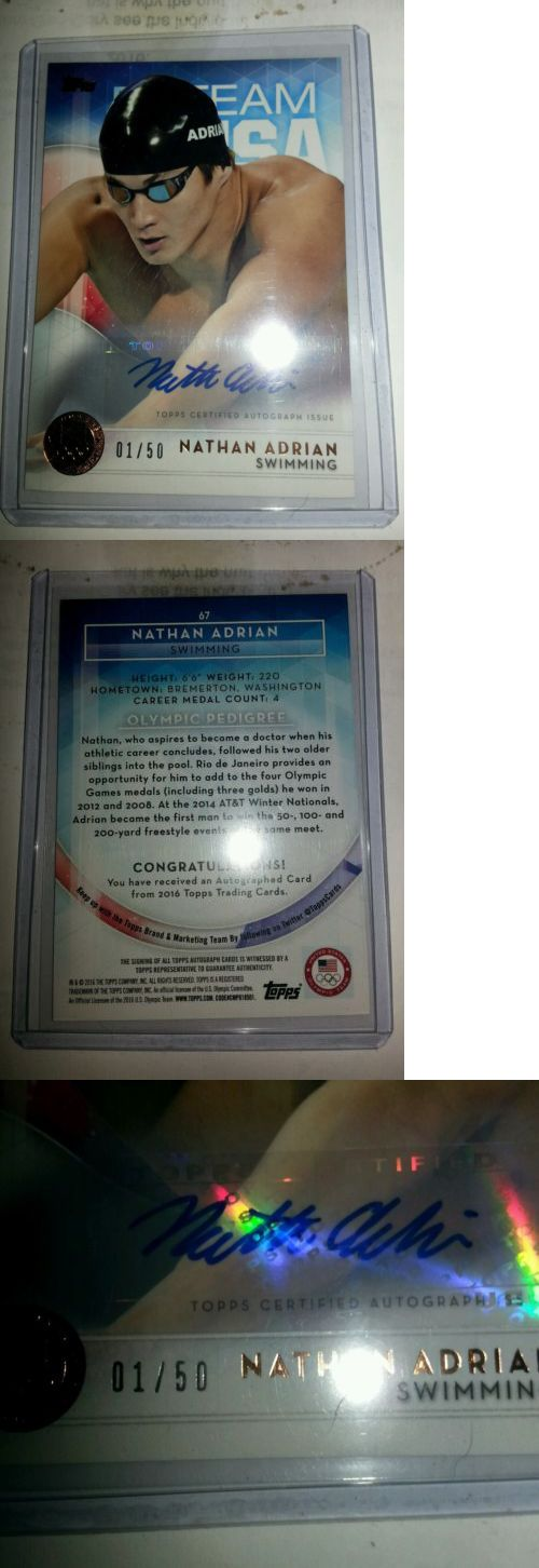 Olympics Cards 2956: 2016 Topps Olympics Bronze Autograph Nathan Adrian, Swimming #1 50!! -> BUY IT NOW ONLY: $34 on eBay!