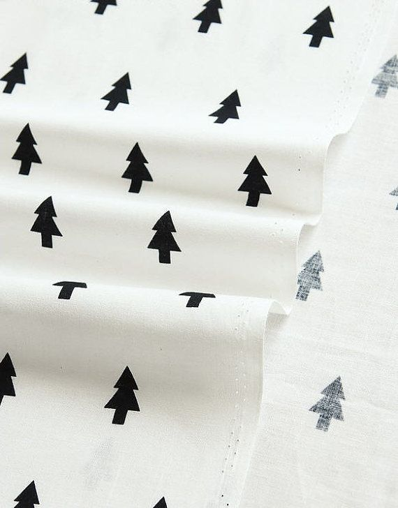 Simple Black and White Patterns Black Trees Cotton by landofoh, $12.75