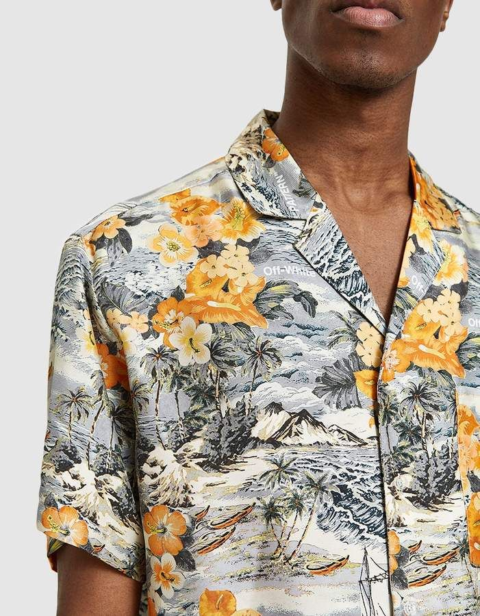 98414febac Off-White   Black   Orange Hawaiian Shirt