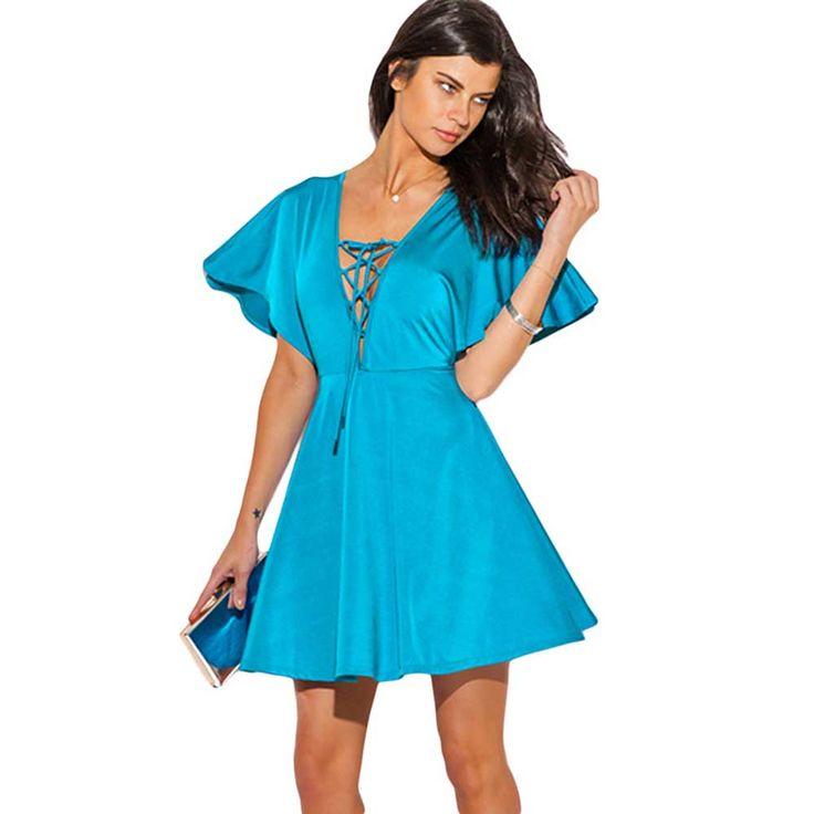 Vestidos Femininos Summer Dresses 2016 Moda Mujer Black Lace up Deep V Neck Kimono Sleeve A Line Dress
