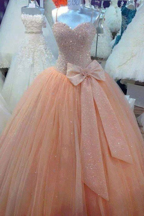 <3 stunning peach pink beaded ball gown prom dress #prom2k15 #prom2k16
