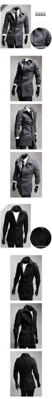 New Men Fashion Slim Wool Coat