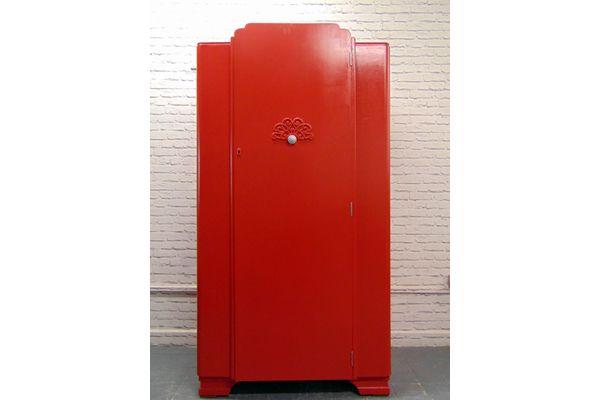 Red Painted Gentleman's Wardrobe  | Vinterior London  #colour #design #interiors #furniture