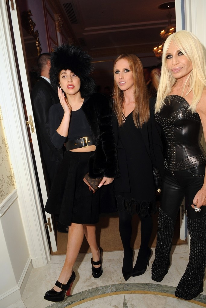 Lady Gaga with Allegra and Donatella Versace at the Versace Vibe Opening