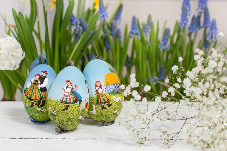 Ręcznie malowana pisanka łowicka - gęsie jajo