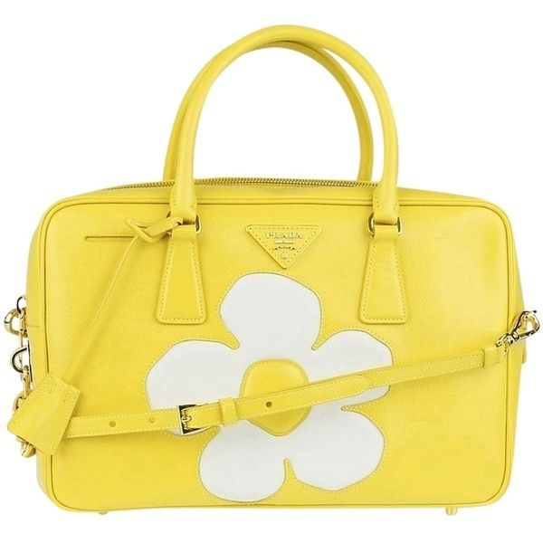 Pre-owned Prada Saffiano Vernice Flower Zip Yellow Girasole Tote Bag (1,860 CAD) ❤ liked on Polyvore featuring bags, handbags, tote bags, prada, yellow girasole, zipper tote, flower purse, yellow tote, zip tote and flower tote