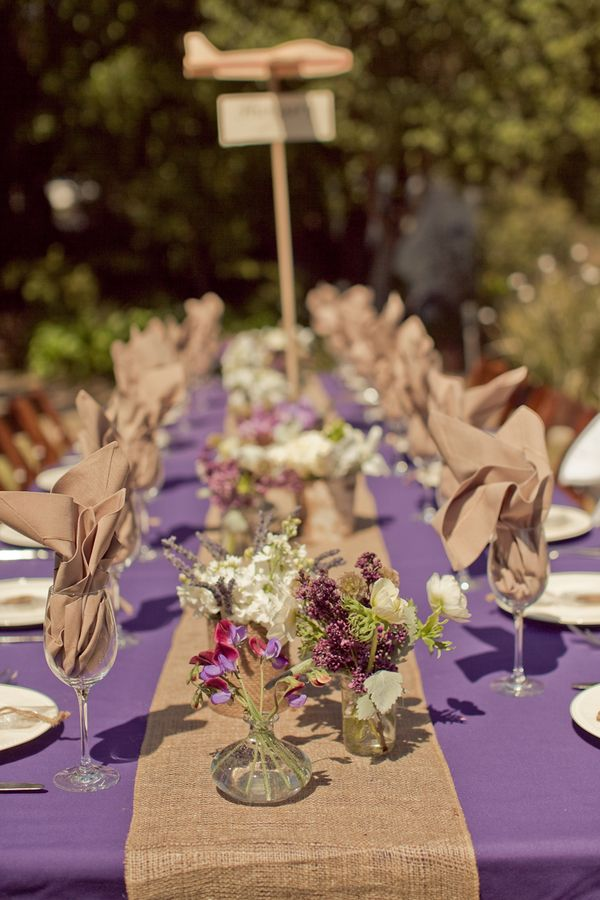 Like The Touch Of Color With Purple Tablecloths And Burlap Runner