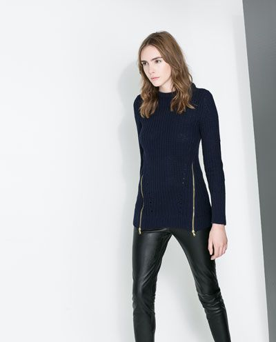 Image 2 of LONG SWEATER WITH ELBOW PATCHES from Zara