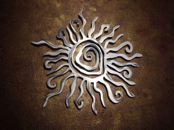spiral sun metal wall art metal wall decor silver sun sun art patio art - Metal Wall Designs