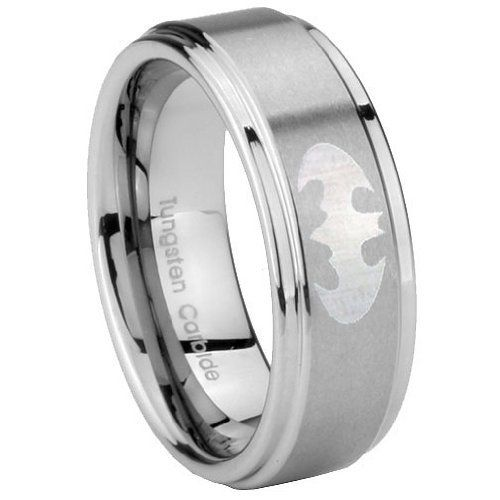 Tungsten Carbide Batman Step Edges Engraved Ring Size 4 to 14, 5MM, 8MM, 10MM ( men 10mm Size 10 ) Tungstenmen, http://www.amazon.com/dp/B008YURK7O/ref=cm_sw_r_pi_dp_j.9Sqb1MD4XB6