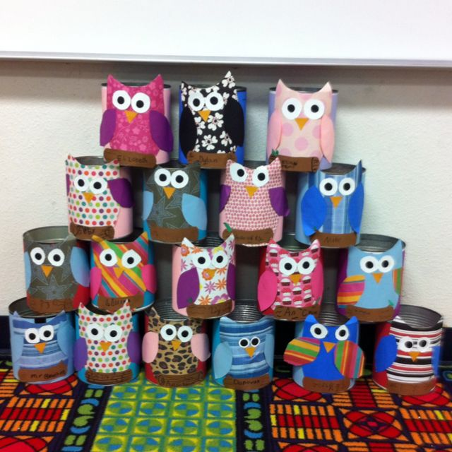 Owl cans for valentines day in class. I was looking for this when I did my frog Valentine bags.