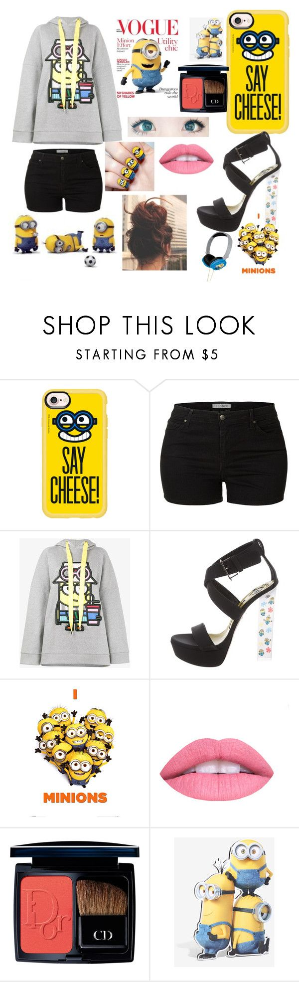 """is it minion??#so.cute.na?¿😂"" by khushurao ❤ liked on Polyvore featuring Ultimate, Casetify, LE3NO, Mira Mikati, Ruthie Davis, Despicable Me, L.A. Girl and Christian Dior"