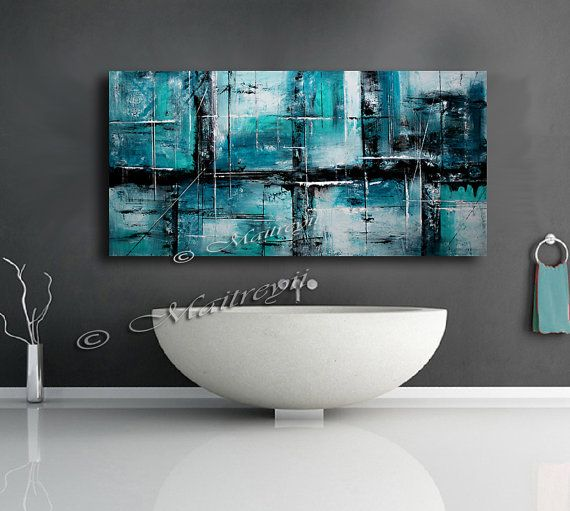 "Abstract art 72"" Hand Made Large Wall Art, Made of Teal, Turquoise, Black colors on canvas by Maitreyii"