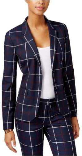 8b68ad13cc503 Tommy Hilfiger Womens Plaid Two Button Blazer Jacket - ShopStyle ...