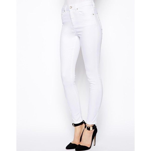 ASOS Ridley Skinny Ankle Grazer Jeans in White (28 CAD) ❤ liked on Polyvore featuring jeans, white, white skinny ankle jeans, asos skinny jeans, white skinny jeans, white jeans and asos jeans