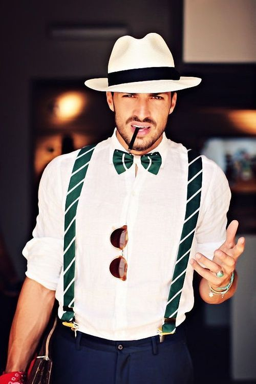 matching bow tie & suspenders + sunglesses + fedora ... nice outfit for geek look HALLOWEEN be fashionablygeek once a year ;0)