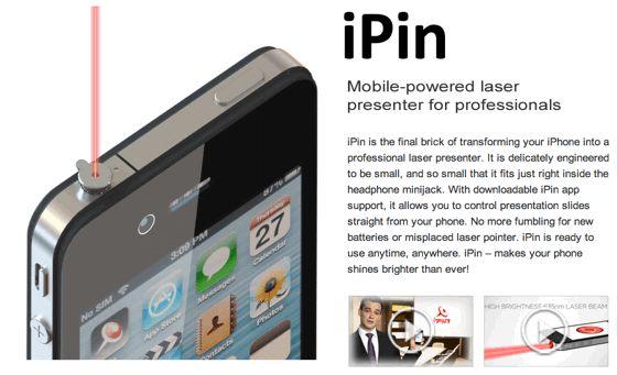 iPhoneのイヤホンジャックにつけられるレーザーポインター『iPin』
