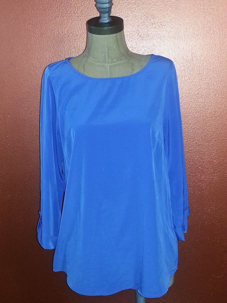 #Everly #Tunic #Blouse #Solid #Blue 3/4 Sleeves Size Medium