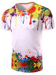 Round Neck 3D Colorful Splash-Ink Print Short Sleeve Men's T-Shirt (COLORMIX,2XL) | Sammydress.com Mobile